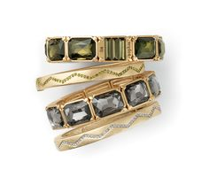 Stack sparkly bangles for a gleaming look.