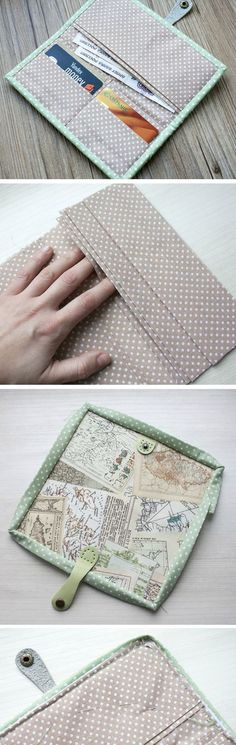 Easy Wallet Sewing Pattern. DIY Tutorial in Pictures.  http://www.handmadiya.com/2015/10/easy-wallet-tutorial.html