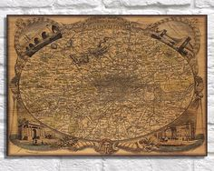 Art on wood, Vintage London map wood wall art, Vintage map of the environs of London art print, baked onto a wood tablet. VM2 by Woodprintz on Etsy