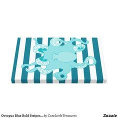Octopus Blue Bold Stripes 20x16 Canvas Wrap