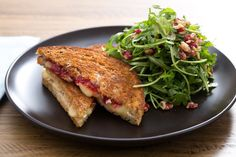 Grilled Brie Sandwiches with Quick Strawberry Jam & Red Walnut-Arugula Salad. Visit https://www.blueapron.com/ to receive the ingredients.