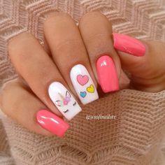Adorable white and pink unicorn nails | unicorn nail art | Summer nails | Summer nail designs | #nailart | #unicornnails | #unicorn | #nails