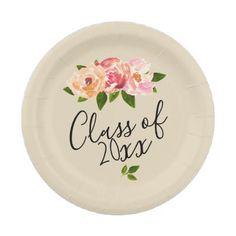 #flower - #Tan rustic floral grad party paper plate