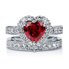 Silver Simulated Ruby Heart Shaped CZ Halo Ring Set CTW I would love to win this. Its so beautiful.I would love to win this. Its so beautiful. Heart Shaped Diamond Ring, Heart Shaped Rings, Heart Ring, Pretty Rings, Beautiful Rings, Bridal Jewelry Sets, Bridal Sets, Fantasy Jewelry, White Gold Diamonds