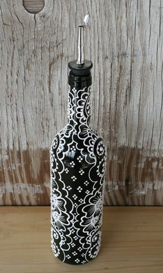 Hand Painted Wine bottle Olive Oil Pourer, Jet Black and Bright white accents, Olive Oil Dispenser Painted Glass Bottles, Glass Milk Bottles, Glass Bottle Crafts, Diy Bottle, Decorated Bottles, Liquor Bottles, Wine Glass, Wine Bottle Vases, Lighted Wine Bottles