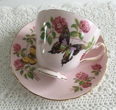 Beautiful Pink Floral With Butterflies Tuscan China Tea Cup June Glory