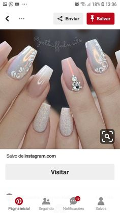 Here is a tutorial for an interesting Christmas nail art Silver glitter on a white background – a very elegant idea to welcome Christmas with style Decoration in a light garland for your Christmas nails Materials and tools needed: base… Continue Reading → Fancy Nails, Gold Nails, Pink Nails, Cute Nails, My Nails, Fabulous Nails, Perfect Nails, Gorgeous Nails, Stylish Nails