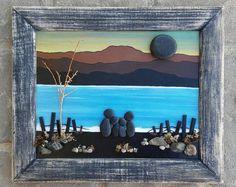 Arte, arte rupestre, guijarro arte familia, familia de Art Rock, familia de cuatro, Family vacation, océano, playa de piedra, «abierto» marco de 10 x 12 (ENVÍO GRATIS)
