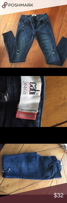 Cabi 2016 skinny jeans Good used condition some minor wear on button and brackets from washing these are fall 2016 skinny distressed Jean. They have some stretch to them. CAbi Jeans Skinny