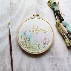 Bloom Flower Embroidery Hoop Watercolor Floral Mixed Media   Etsy