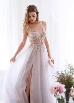 Buy A Line Tulle V Neck Applqiues Prom Dresses With Slit, Spaghetti Straps Long Formal Dresses online.Shop short long ombre prom, homecoming, bridesmaid evening dresses at Couture Candy Cocktail party dresses, formal ball gowns in ombre colors. Pink Prom Dresses, Prom Dresses For Sale, A Line Prom Dresses, Grad Dresses, Mermaid Prom Dresses, Quinceanera Dresses, Pretty Dresses, Homecoming Dresses, Wedding Dresses