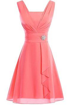SecretCastle Women's Cute Chiffon Bridesmaid Dresses Knee-length Prom Dresses