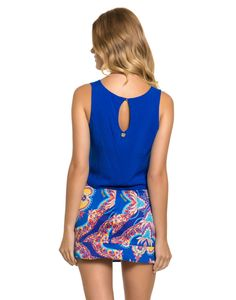 Top Cropped Liso Com Bordados Azul - Lez a Lez