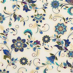 cremefarbener Blumen Stoff Timeless Treasures Dynasty 1