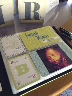 Great idea for a baby shower guest book, using the Mini Album. The Adventures of Almost Maybeline: Week 15 and 16 Scrapbook Journal, Diy Scrapbook, Name Day, Baby Party, Project Life, Gender Reveal, Mini Albums, Shower Ideas, Children