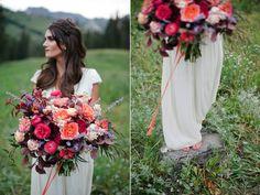 coral garden rose wedding bouquet flowers utah calie rose www.calierose.com beautiful wedding bouquets