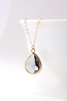 Charcoal Gray / Gold Teardrop Necklace Charcoal by ForTheMaids