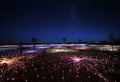 Miles de luces convierten desiertos en bosques surrealistas. Bruce Munro es un artista británico. Uluru, Northern Territory, AU