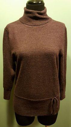 A. Giannetti Petite Deep Purple 100% Merino Wool Thin Knit Turtleneck Sweater PL #AGiannetti #Turtleneck