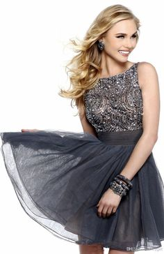 Discount The Best Selling Fashion Sexy Prom Dresses Ball Gown High Mini Beaded Tulle Bridesmaid Dresses Online with $131.94/Piece | DHgate