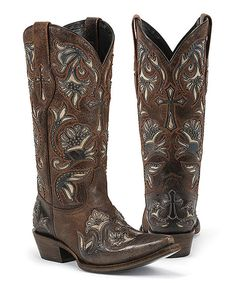 Look at this Black Star Brown Trinity Snip-Toe Leather Cowboy Boot on #zulily today!