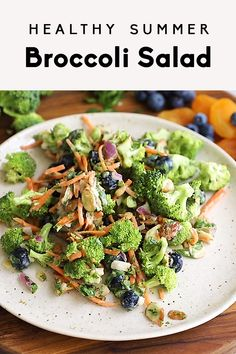 The BEST healthy summer broccoli salad made with delicious, fresh produce and without any mayo. This easy, vegan version of traditional broccoli salad is perfect for summer parties and meal prep. #summer #dairyfree #veganrecipe #vegetarian #vegetarianrecipe #healthysalad #healthylunch #potluck