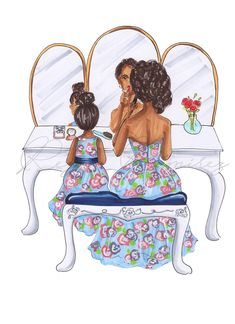 Mom illustration mom and daughter print Mom & daughter Black Love Art, Black Girl Art, Art Girl, African American Art, African Art, Mother Daughter Art, Black Art Painting, Beste Mama, Black Art Pictures