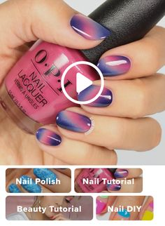 Pink and Purple Ombre Manicure Tutorial Gelegentliche Nageldesigns Diy Nails Tutorial, Nail Tutorials, Galaxy Nails Tutorial, Pretty Nails, Fun Nails, Purple Ombre, Purple Nails, How To Ombre Nails, Ombre Nail Art
