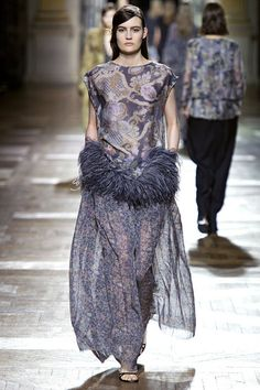 Feather peplum, sheer skirt. Dries Van Noten Fall 2013 Ready-to-Wear Collection Slideshow on Style.com