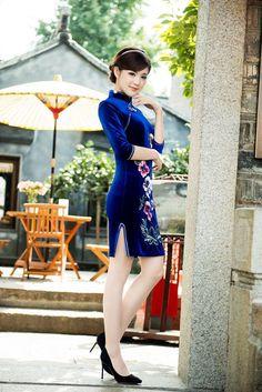 チャイナドレス通販のDeVIPs / チャイナ服 楽天 シルクドレス 結婚式ドレス、二次会 ファッション チャイナドレス 七分袖