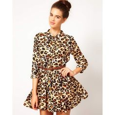 River Island Chelsea Girl Leopard Shirt Dress ($48) ❤ liked on Polyvore