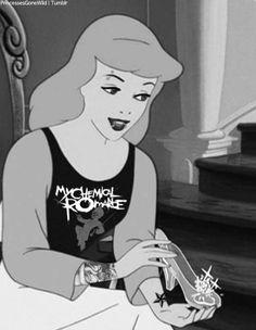 punk disney punk cinderella I like the My Chemical Romance t shirt Walt Disney, Disney Pixar, Emo Disney, Cinderella Disney, Disney Films, Disney And Dreamworks, Disney Animation, Disney Magic, Disney Characters