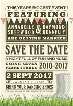 Perfect save the date for all of the Festival loving couples! Cute and quirky design with vintage bunting and festival must have's boots! Find out more about creating your festival ticket save the date here; http://www.appleberrypress.com/wedding_stationery_726_Festival-Ticket-Save-the-Date