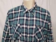 442dd81211f Vtg 90s DICKIES Plaid Flannel Shirt Green Blue White Cotton Blend Mens 2X  Grunge  Dickies