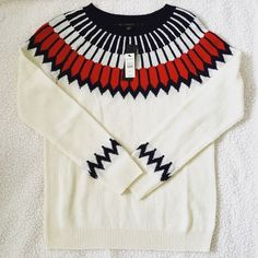 NWT Talbots Sweater Size s. NWT. Cream, navy blue and red. Talbots Sweaters Crew & Scoop Necks