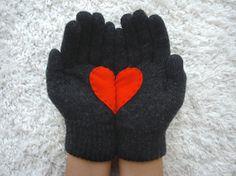 ♥♥♥ Valentinstag♥♥  Handschuh für Verliebte ♥♥♥  von stern_design auf DaWanda.com
