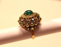 vtg PANETTA Sterling Shank Gold plated COCKTAIL Ring jeweled Dome faux jade #Panetta #Cocktail