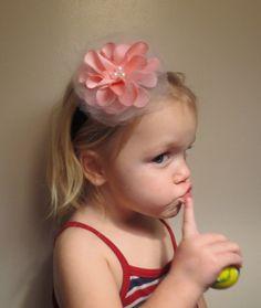 Pink Satin Flower Headband Photo Shoot Pagaent by simplyyarn27