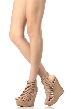 45f8d4c7265762 Taupe Faux Leather Caged Open Toe Wedges   Cicihot Wedges Shoes Store Wedge  Shoes