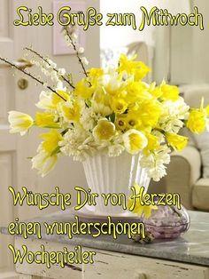 Wednesday Greetings, Good Sentences, Glass Vase, Table Decorations, Erika, Night, Videos, Google, Frases