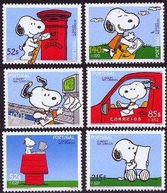 Stamps Charlie Brown And Snoopy Love Woodstock Peanuts Cartoon