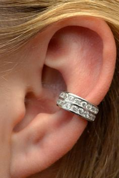 Channel Set Ear Cuff Two Rows  Sterling Silver  by ChapmanJewelry