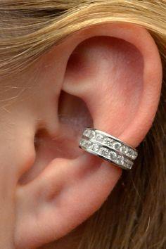 Channel Set Ear Cuff Two Rows  Sterling Silver  by ChapmanJewelry