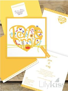 One of my all-time favourites from lilykiss.com.au   Heart typography, colourful invitations, Lilykiss