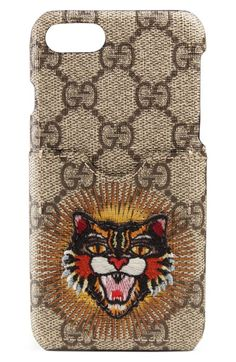 42bda11dfcace3 GUCCI Embroidered Angry Cat Gg Supreme Iphone 7 Case.  gucci   Iphone 7 Plus