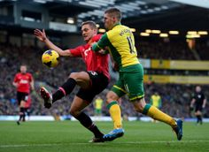 Nemanja Vidic of Manchester United against Norwich City