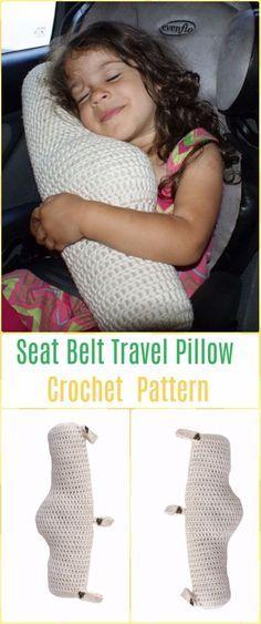 Crochet Seat Belt Travel Pillow Paid Pattern - Crochet Travel Neck Pillow Patterns Tutorials