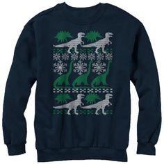 Lost Gods Dinosaur Ugly Christmas Sweater Print Womens Graphic Sweatshirt