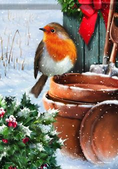 Carson Home Accents Rosy Robin Trends Classic Garden Flag Christmas Artwork, Christmas Bird, Christmas Scenes, Christmas Paintings, Vintage Christmas Cards, Christmas Pictures, Christmas Greetings, All Things Christmas, Christmas Crafts