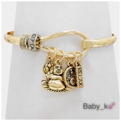"Buddha & Lotus Charm Gold Bracelet Antique gold happy buddha and lotus charms hook bracelet - 2.3"" Diameter Boutique Jewelry Bracelets"